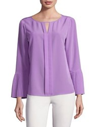 Imnyc Isaac Mizrahi Pleated Sleeve Blouse Lilac