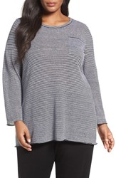 Eileen Fisher Plus Size Women's Stripe Organic Linen Knit Tunic