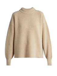 The Row Delia Boyfriend Knit Sweater Light Beige