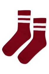 Topshop Sporty Tube Ankle Socks Bloody Red