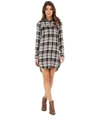 Lucky Brand Plaid Henley Shirtdress Black Multi Women's Dress