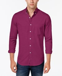 Club Room Men's Big And Tall Solid Long Sleeve Shirt Classic Fit Cherry Pink