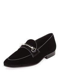 Donald J Pliner Velvet Slip On Loafers Black