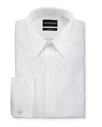 Emporio Armani Modern Fit Basic Tuxedo Shirt With Point Collar And French Cuffs White