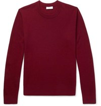 Sandro Slim Fit Textured Knit Wool Blend Sweater Burgundy