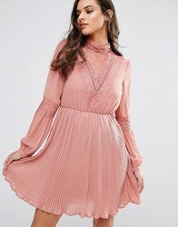 Vero Moda Lace Detail Skater Dress Rose Pink