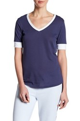 Alternative Apparel V Neck Colorblock Tee Blue