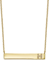 Studio Silver Bar Necklace With Cubic Zirconia Initial In 18K Gold Over Sterling Silver Gold H