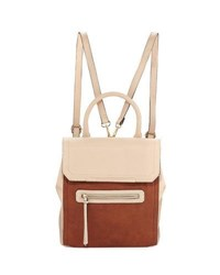 Neiman Marcus Colorblock Flap Backpack Buff Cogna