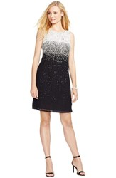Petite Women's Lauren Ralph Lauren Ombre Embellished Georgette Sheath Dress Black White