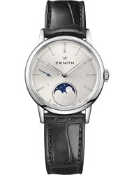 Zenith 03.2330.692 01.C714 Elite Lady Moonphase Alligator Leather Watch Silver Black