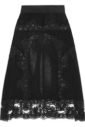 Dolce And Gabbana Chantilly Lace Trimmed Silk Blend Georgette Slip