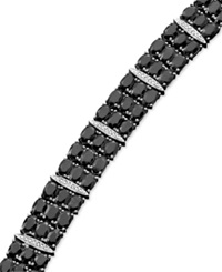 Macy's Black Sapphire 50 Ct. T.W. And Diamond Accent Bracelet In Sterling Silver