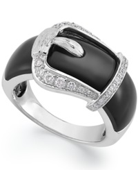 Macy's Sterling Silver Ring Onyx 8 Ct. T.W. And Diamond 1 4 Ct. T.W. Buckle Ring