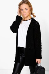 Boohoo Petite Natalie Cable Knit Cardigan With Pockets Black