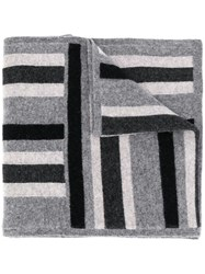 Pringle Of Scotland Striped Knitted Scarf Grey