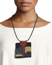 Urban Zen Leather Collage Tablet Necklace Black Pattern