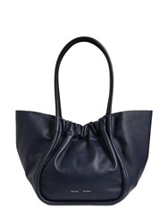 Proenza Schouler Large Smooth Leather Tote Bag Dark Nay