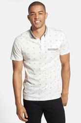 7 Diamonds Prism Print Mercerized Polo White