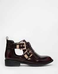 River Island Cut Out Double Buckle Flat Boots Oxbloodbox