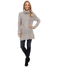 Bobeau Cable Knit Sweater Charcoal Grey Women's Sweater Gray