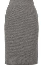 Madewell Ribbed Merino Wool Skirt Gray