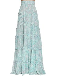 Luisa Beccaria Long Floral Print Georgette Skirt Light Blue