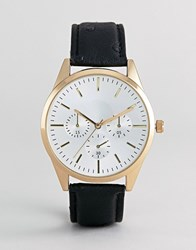 Burton Menswear Watch With Black Strap In Gold