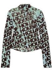 House Of Holland Printed Mesh Turtleneck Top Mint