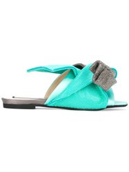 N 21 No21 Metallic Bow Flat Sandals Green