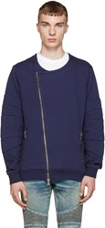 Balmain Blue Zip Up Biker Sweater
