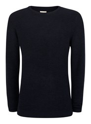 Topman Blue Selected Homme Navy Waffle Textured Sweater