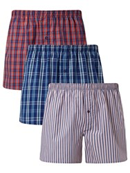 John Lewis Milford Check Stripe Woven Cotton Boxers Pack Of 3 Blue Red