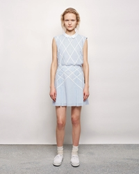 Band Of Outsiders Lattice Applique Suspender Skirt Denim