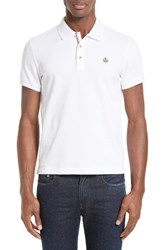 Moncler Men's Stripe Placket Polo White