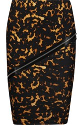 Mcq By Alexander Mcqueen Embellished Printed Stretch Cotton Skirt Tortoiseshell