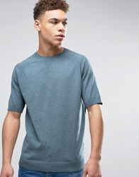 Asos Relaxed Fit Knitted T Shirt In Denim Blue Dusty Teal