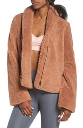 Alo Yoga Cozy Up Faux Fur Crop Jacket Rosewater