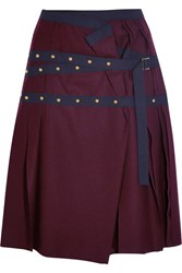 Sacai Pleated Stud Embellished Wool Mini Skirt Plum