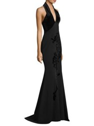 Alberto Makali Velvet Halter Mermaid Gown Black