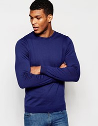 United Colors Of Benetton 100 Cotton Knitted Crew Neck Jumper Blue