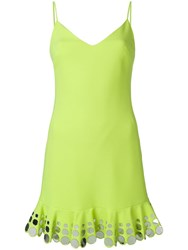 David Koma Circle Detail Ruffle Hem Dress Yellow