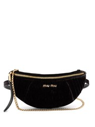 Miu Miu Contrast Panel Velvet Belt Bag Black