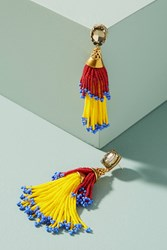 Anthropologie Beaded Double Tassel Drop Earrings Red