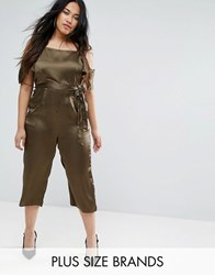 Ax Paris Plus Satin Jumpsuit Green