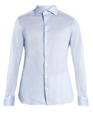 Ermenegildo Zegna Long Sleeved Cotton Pique Shirt Blue