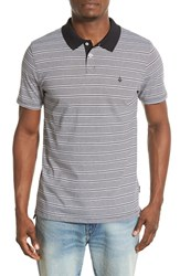 Men's Volcom 'Wowzer' Slim Fit Stripe Jersey Polo Black