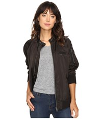 Members Only Washed Satin Ex Boyfriend Jacket Black Women's Coat