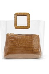 Staud Shirley Croc Effect Leather And Pvc Tote Tan