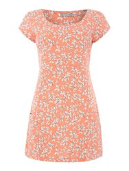 Lily And Me Pocket Tunic With Pretty Leaf Print Coral